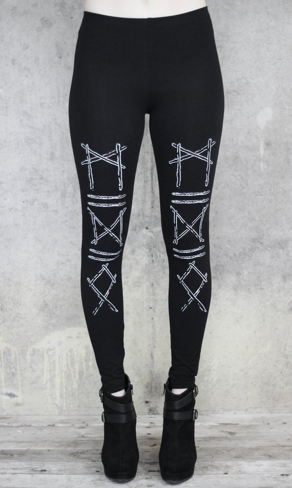 Image of RUNIC STICKS LEGGINGS BLACK