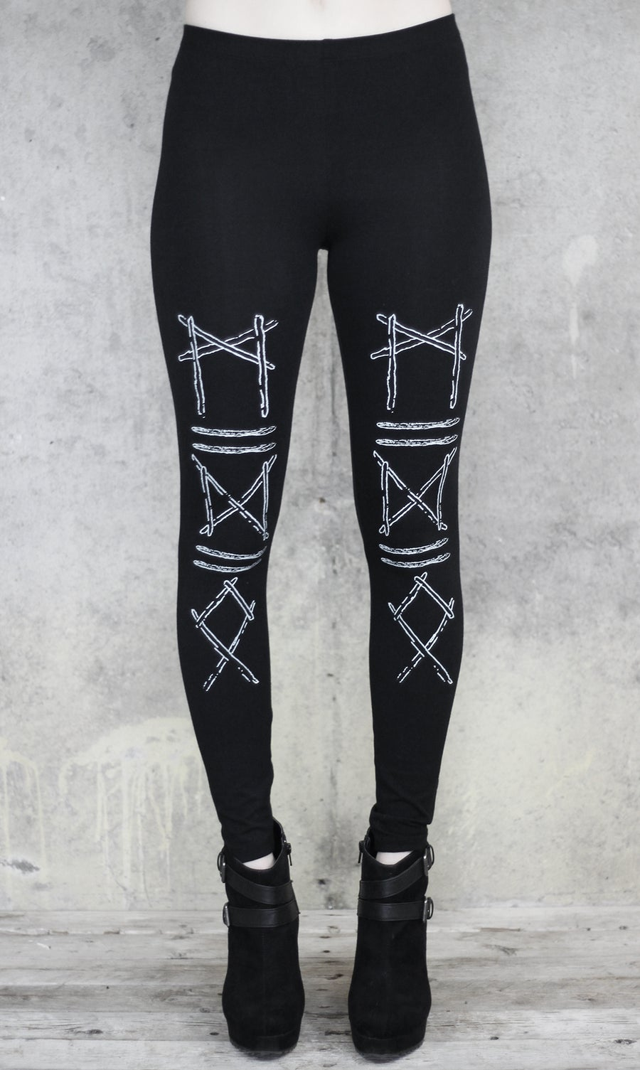 Image of MTO RUNIC STICKS LEGGINGS BLACK
