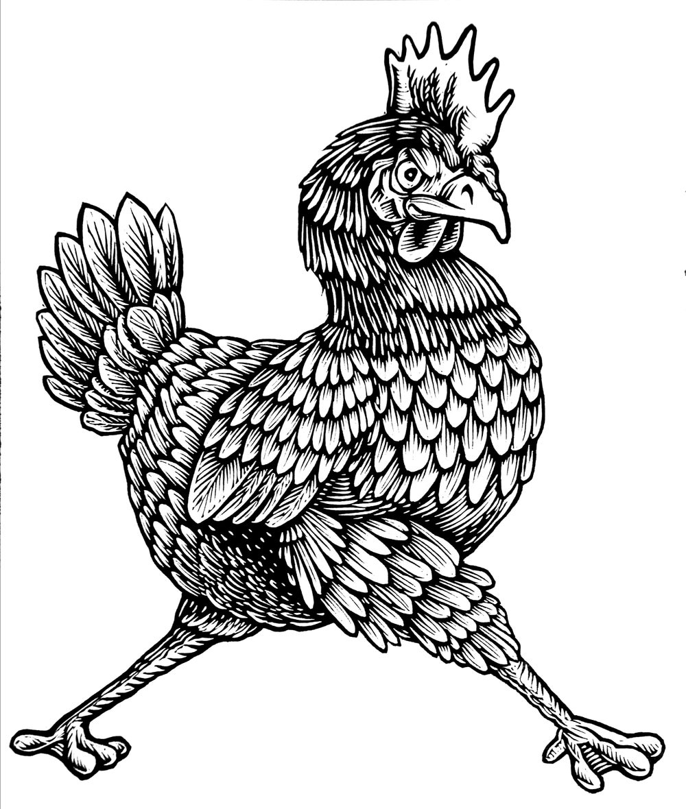 Confident Rooster Woodcut T-shirt (B3)**FREE SHIPPING**