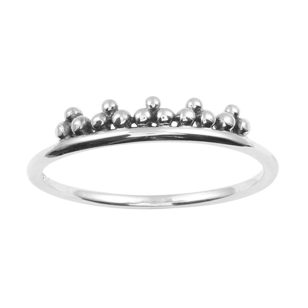 Image of Sterling Silver Beaded Crown Ring
