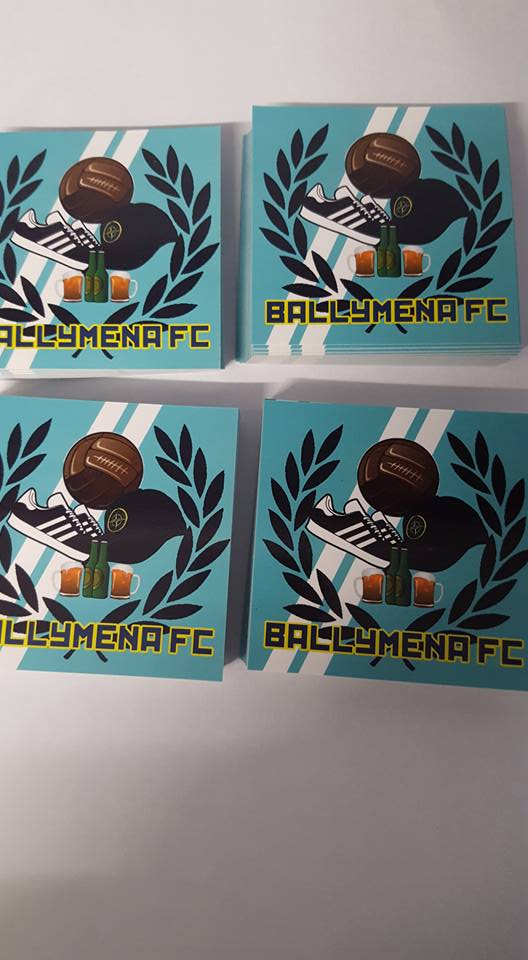 Ballymena United  Football & Fashion New Pack of 25 7x7cm Ultras Stickers.