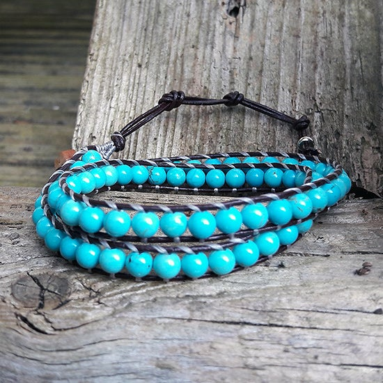 Image of Turquoise Beads on Chocolate Brown Leather Double Wrap Bracelet (W-TQCh-08)