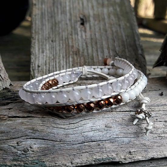 Image of Rose Quartz, Coral & Hematite Beads on Cream Leather Double Wrap Bracelet (EHBrRQWCCm-01)