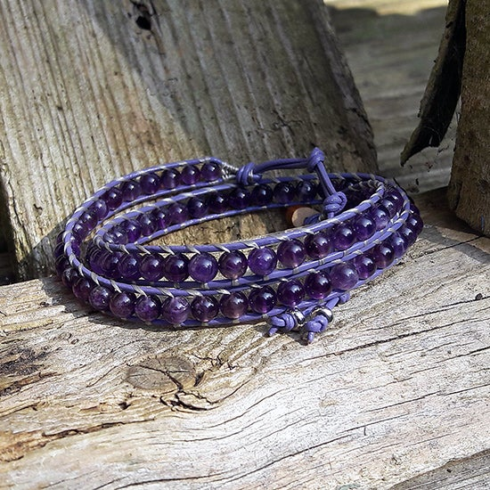 Image of Amethyst Beads on Lilac Leather Double Bracelet