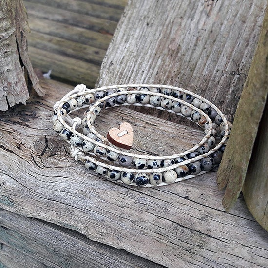 Image of Dalmation Jasper Beads on Cream Leather Double Wrap Bracelet (W-DJCm-02)