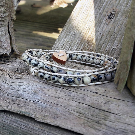 Image of Dalmation Jasper Beads on Cream Leather Double Wrap Bracelet (W-DJCm-02)