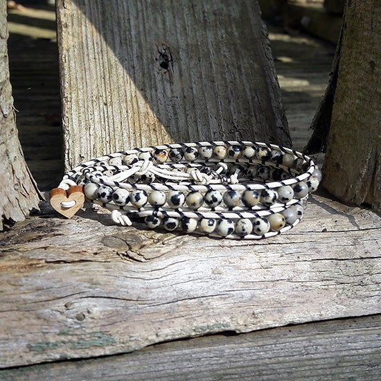Image of Dalmation Jasper Beads on Cream Leather Double Wrap Bracelet (W-DJCm-04)