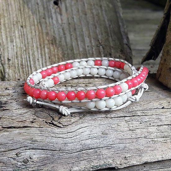 Image of Coral (Pink & White) Beads on White Leather Double Wrap Bracelet (W-COCOWWt-01)