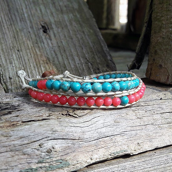 Image of Coral and Turquoise Beads on Cream Leather Double Wrap Bracelet (W-TQCOCm-03)