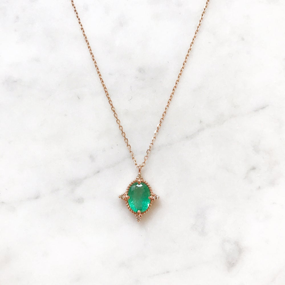 Image of Victorian Emerald Pendant Necklace