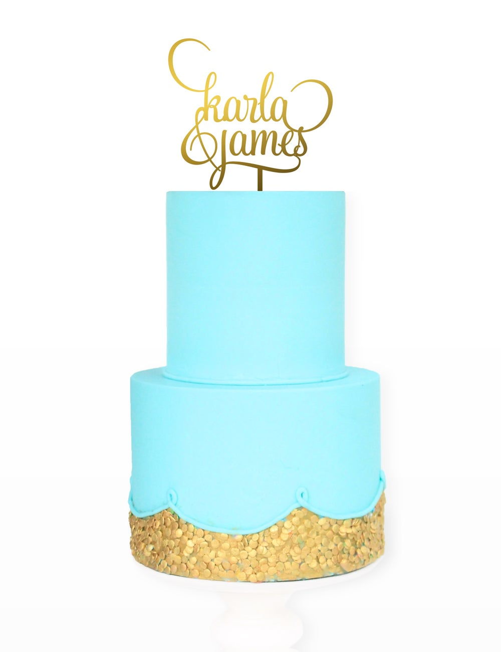 Image of Double Name Swirl Cake Topper