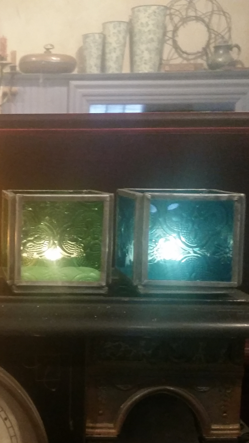 Image of Small Candle Holder - colored glass