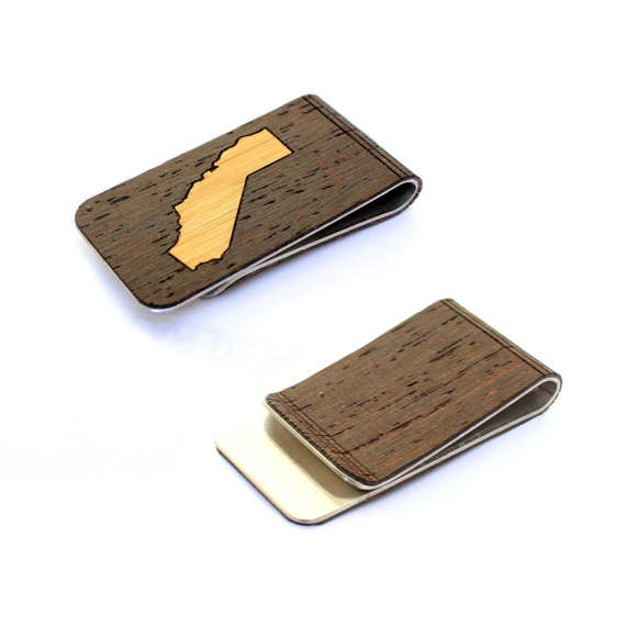 Image of TIMBER Wood Skin Money Clip : California State Edition Free US Shipping