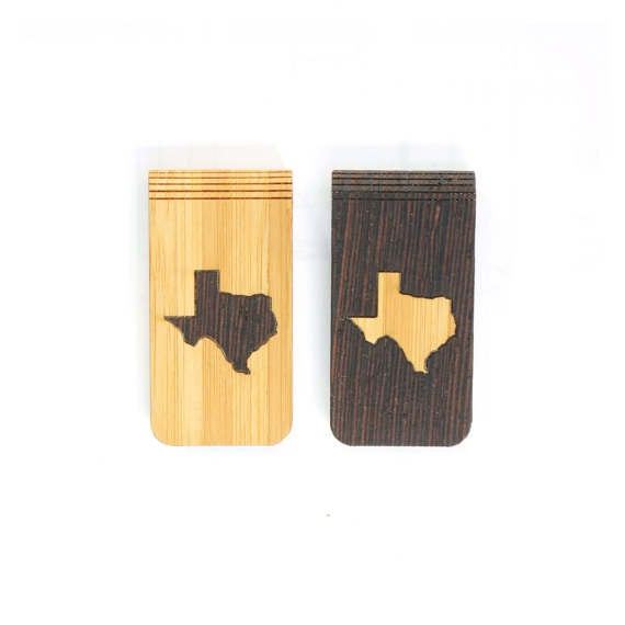 Image of TIMBER Wood Skin Money Clip : Texas State Edition Free US Shipping