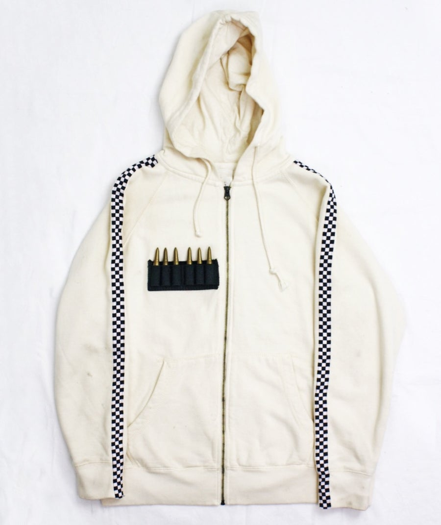 Image of BIOWEAPON ZIP-UP HOODIE - IVORY
