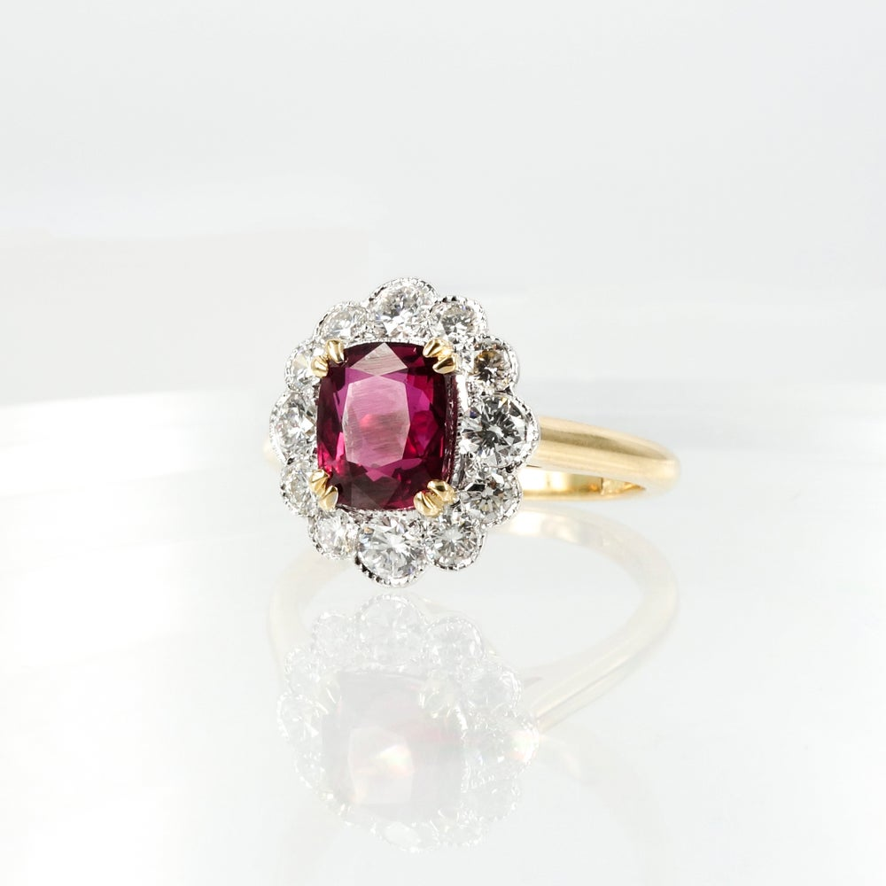 Image of Handcrafted 18ct gold diamond and ruby dress ring