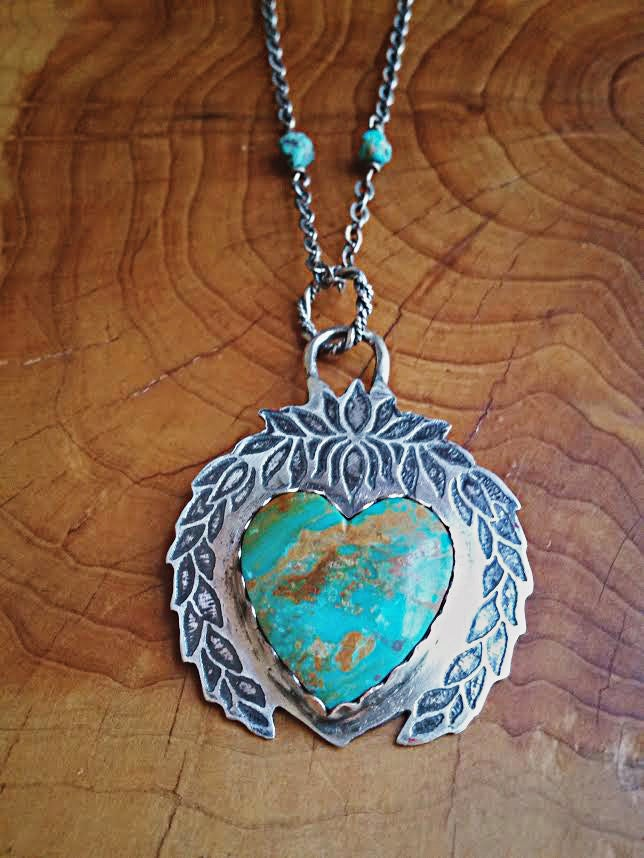 Image of Handmade Sterling Silver and Turquoise Naja Heart Necklace