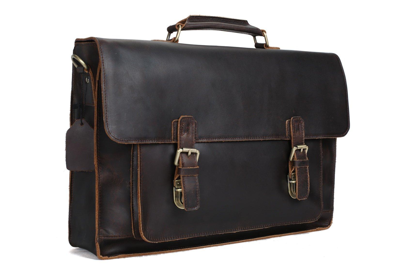 17 Handmade Leather Laptop Bag Man Briefcase Messenger Handbag 7205l
