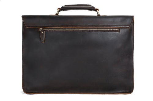 Image of 17'' Handmade Leather Laptop Bag, Man Leather Briefcase, Messenger Bag, Handbag 7205L