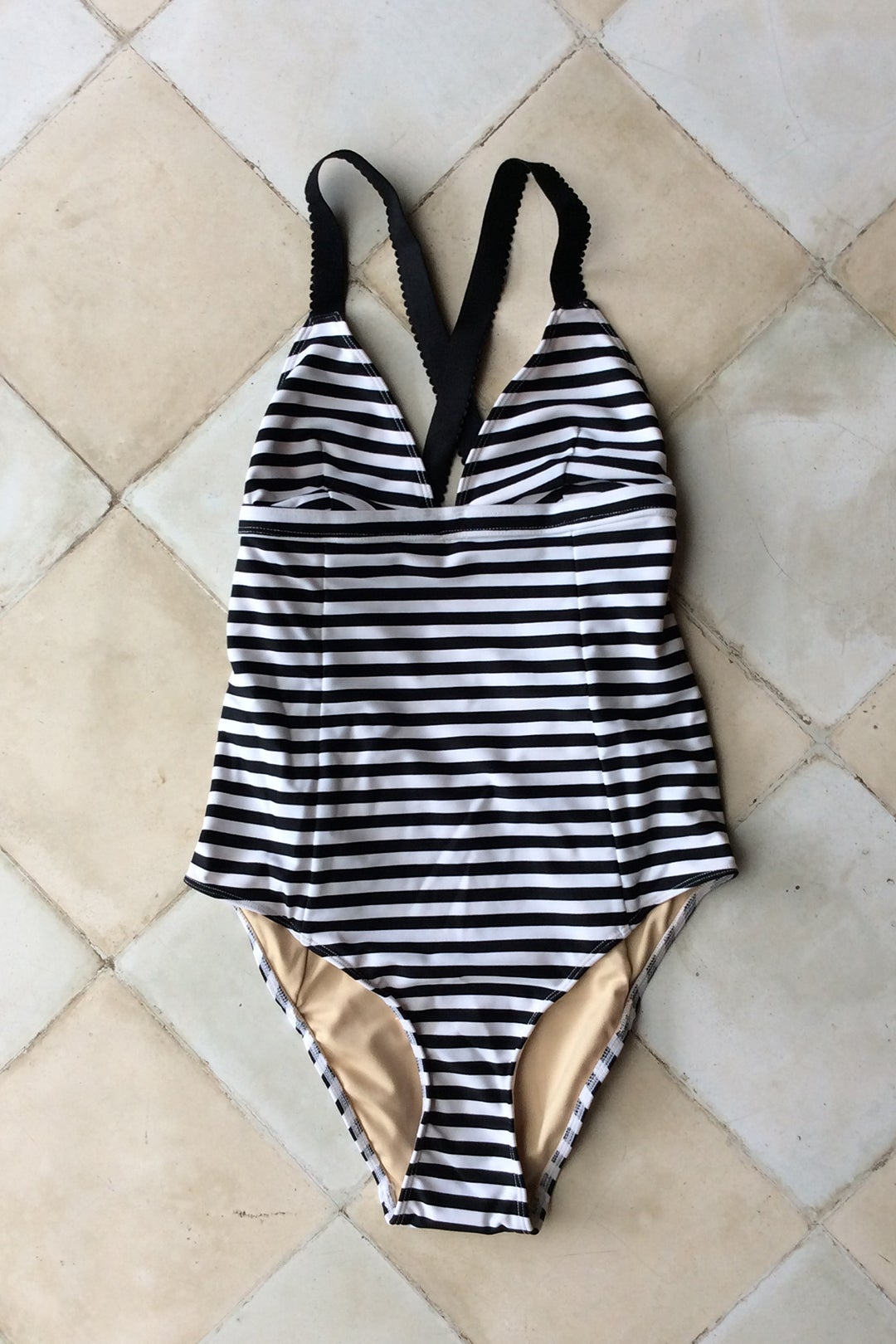 Image of JASMIN SWIMSUIT - BLACK WHITE STRIPE