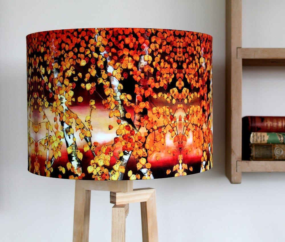 Image of 'Autumn Birch' Drum Lampshade by Lily Greenwood (30cm, Table Lamp or Ceiling)