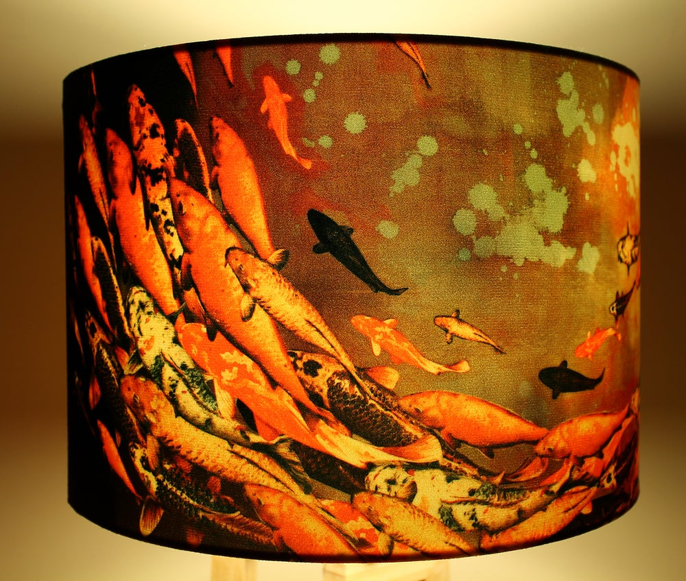 Image of 'Koi on Violet and Olive' Drum Lampshade by Lily Greenwood (30cm, Table Lamp or Ceiling)