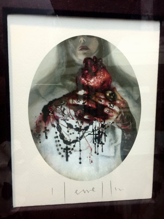 Image of 'KAT VON D - BLOOD ROSARIES' - Framed Miniature Open Edition Print