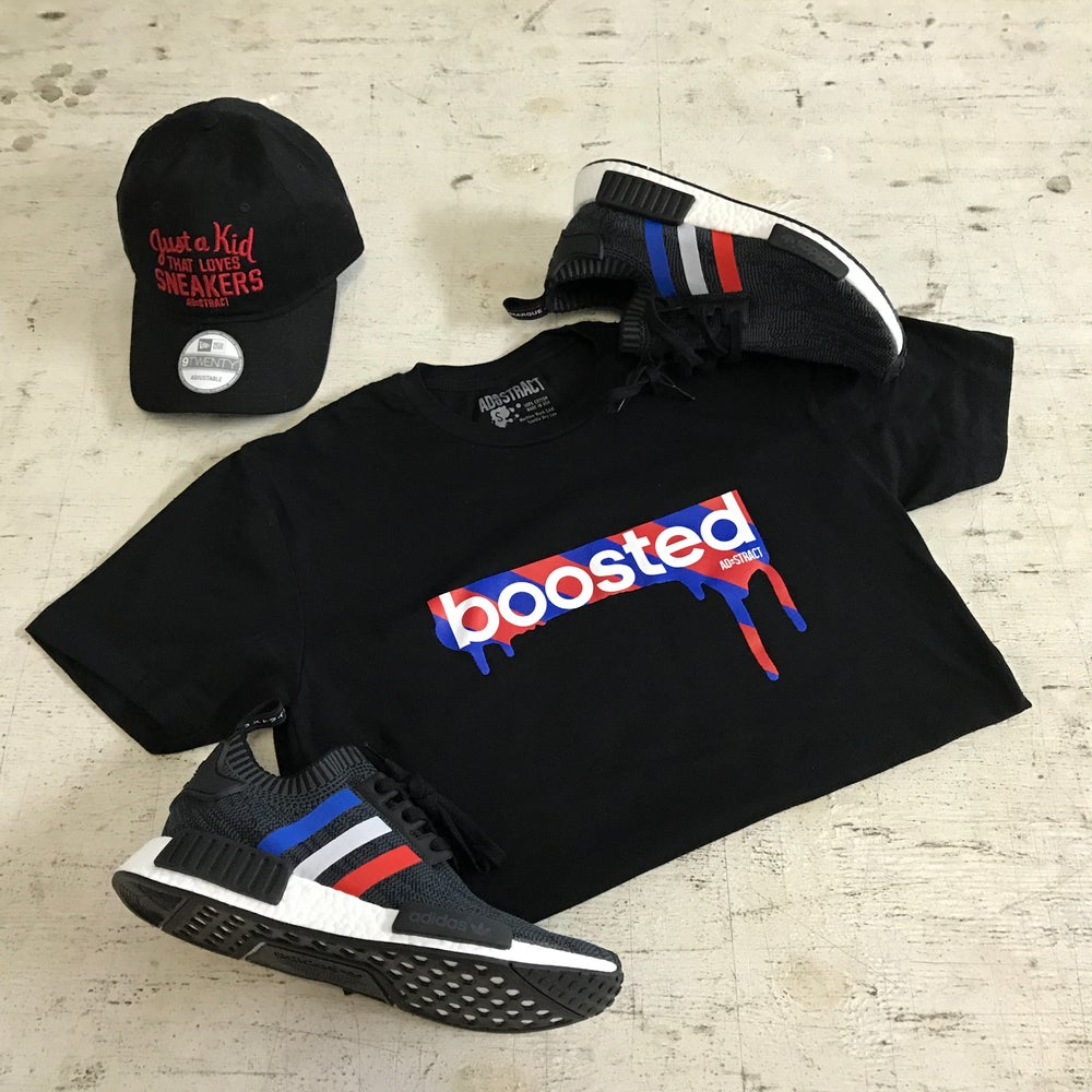 "BOOSTED ""RED & ROYAL PRINT"" HOODY OR TSHIRT"
