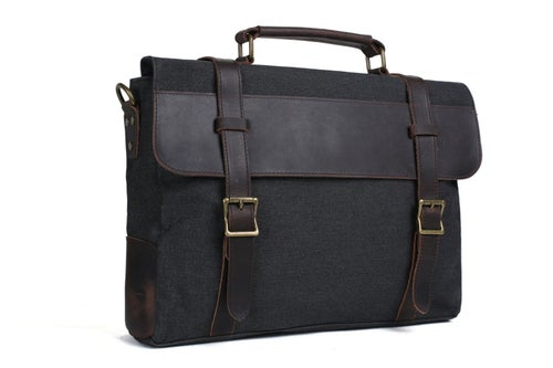 Image of Canvas Leather Bag Briefcase Bag Messenger Bag Shoulder Bag Laptop Bag 1870
