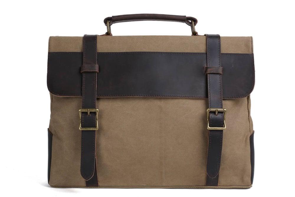 Image of Handmade Canvas Leather Bag Briefcase Messenger Bag Shoulder Bag Laptop Bag 1870