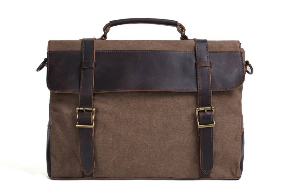 Image of 14'' Canvas Leather Bag Briefcase Messenger Bag Shoulder Bag Laptop Bag 1870
