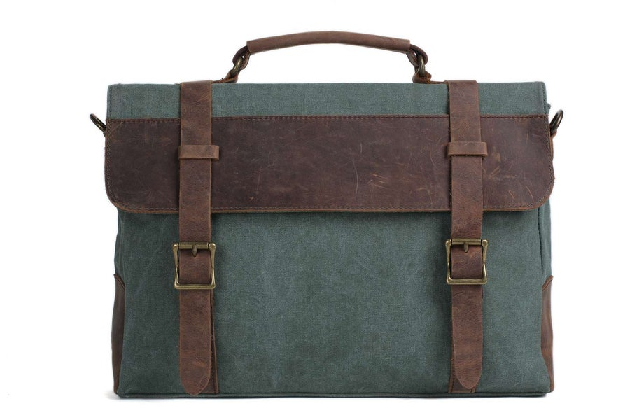 Image of Canvas Leather Bag Briefcase Messenger Bag Shoulder Bag Laptop Bag 1870
