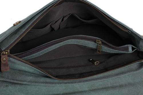 Image of Canvas Leather Bag Briefcase Messenger Bag Shoulder Bag Laptop Bag 1870