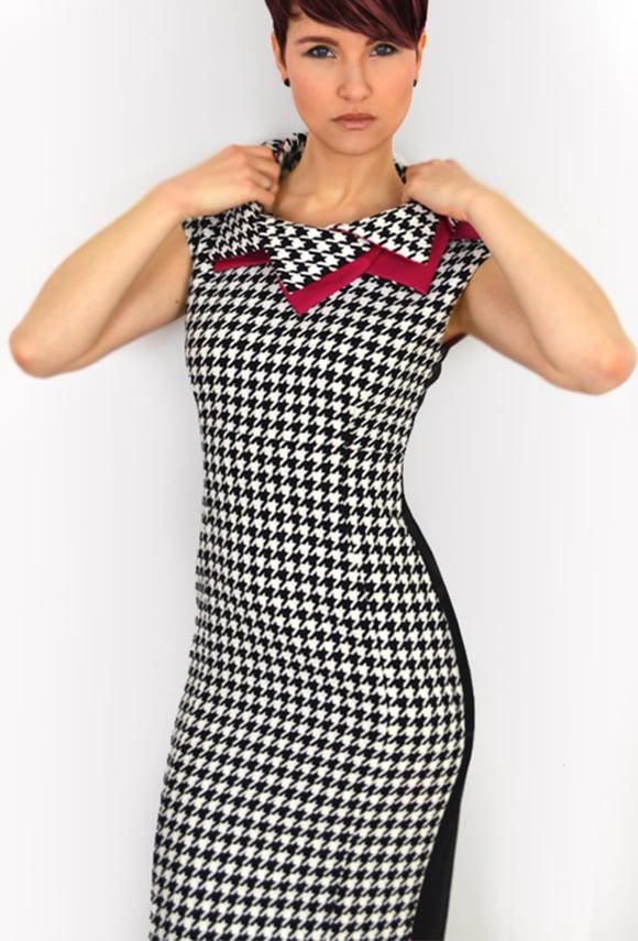 Image of Houndstooth Jacquard Sheath Dress