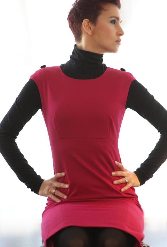 Image of Raspberry Jacquard Sheath Dress
