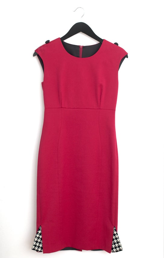 Image of Raspberry Jacquard Sheath Dress