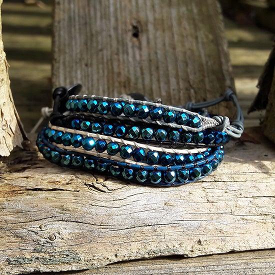 Image of Hematite Blue Beads on Leather Single Wrap Bracelet
