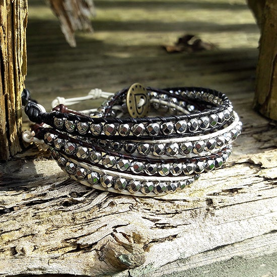 Image of Hematite Silver Beads on Leather Single Wrap Bracelet