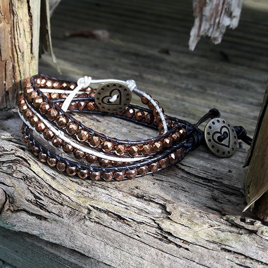 Image of Hematite Bronze Beads on Leather Single Wrap Bracelet