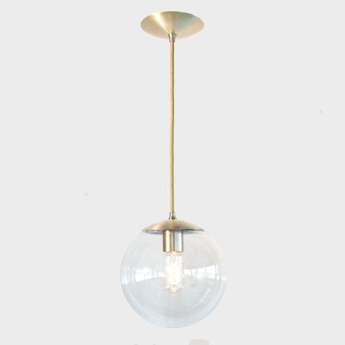 brass globe pendant light. Image Of Adapted For International Use - Mid Century Modern Clear 8\ Brass Globe Pendant Light