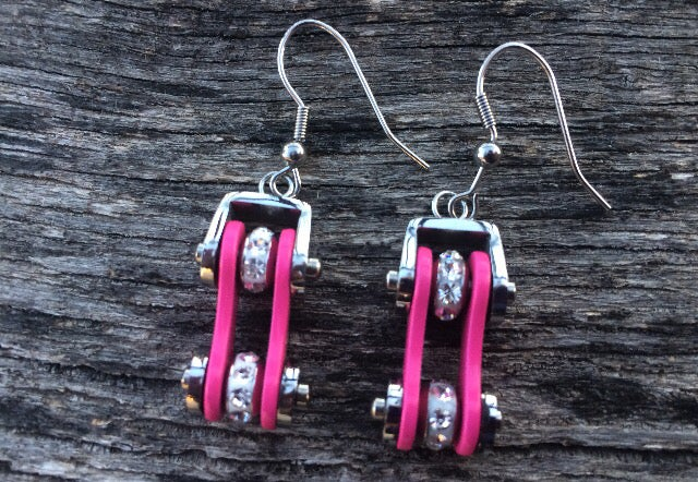 Image of Pink and Silver Bike Chain Earrings