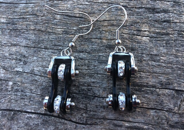 Image of Black and Silver Bike Chain Earrings