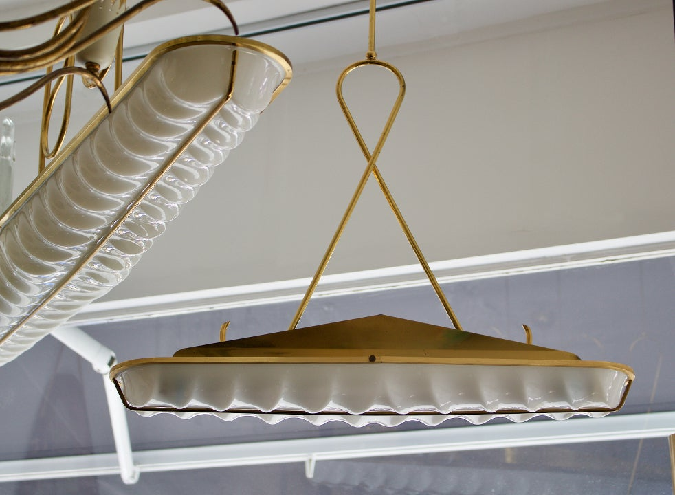 Image of Italian Pendant Lights with Moulded Acrylic Shades, 1960s