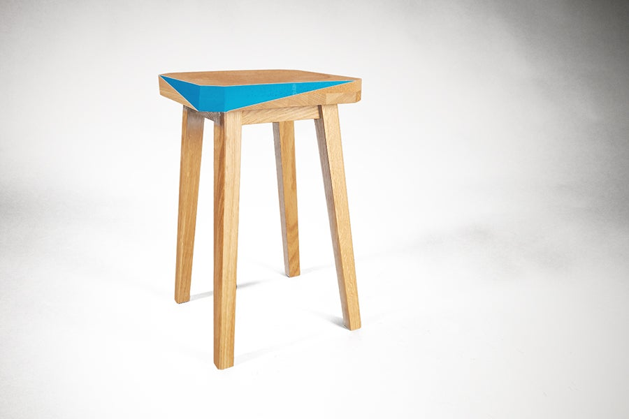 Image of Solid Wood Stool with Cork detail