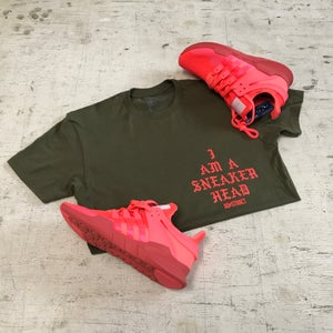 "Image of I AM A SNEAKERHEAD ""OLIVE/BOLD ORANGE"" T-SHIRT"