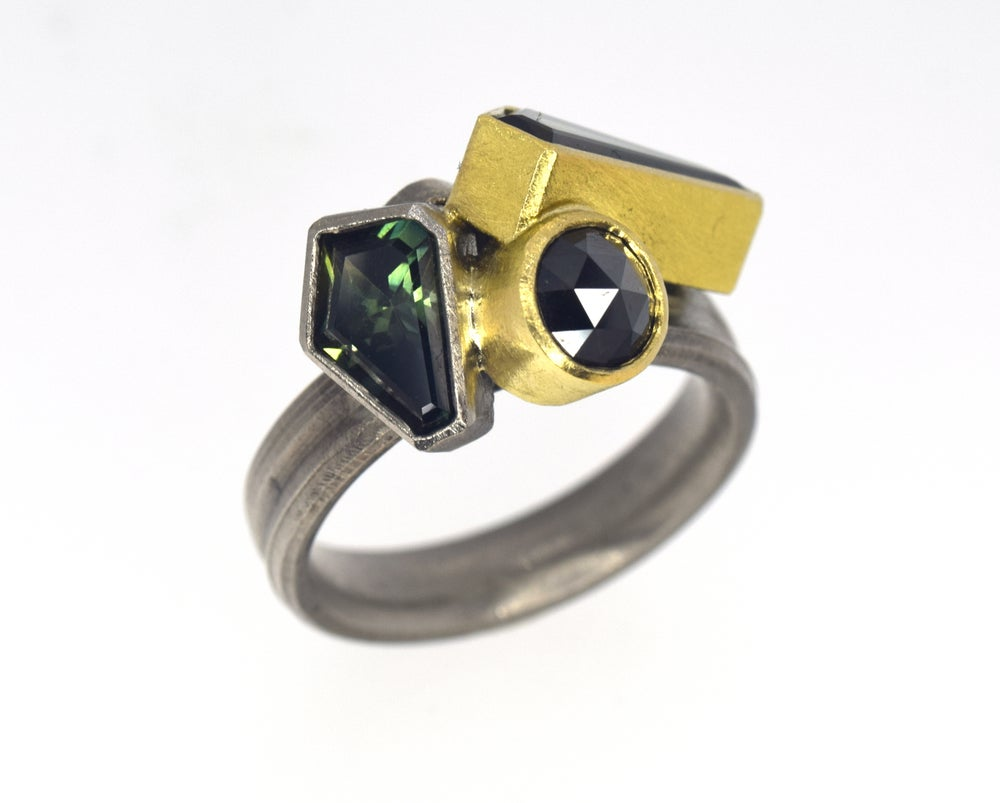 Image of Ring, Sapphire and diamond set in palladium 500 and 18ct gold