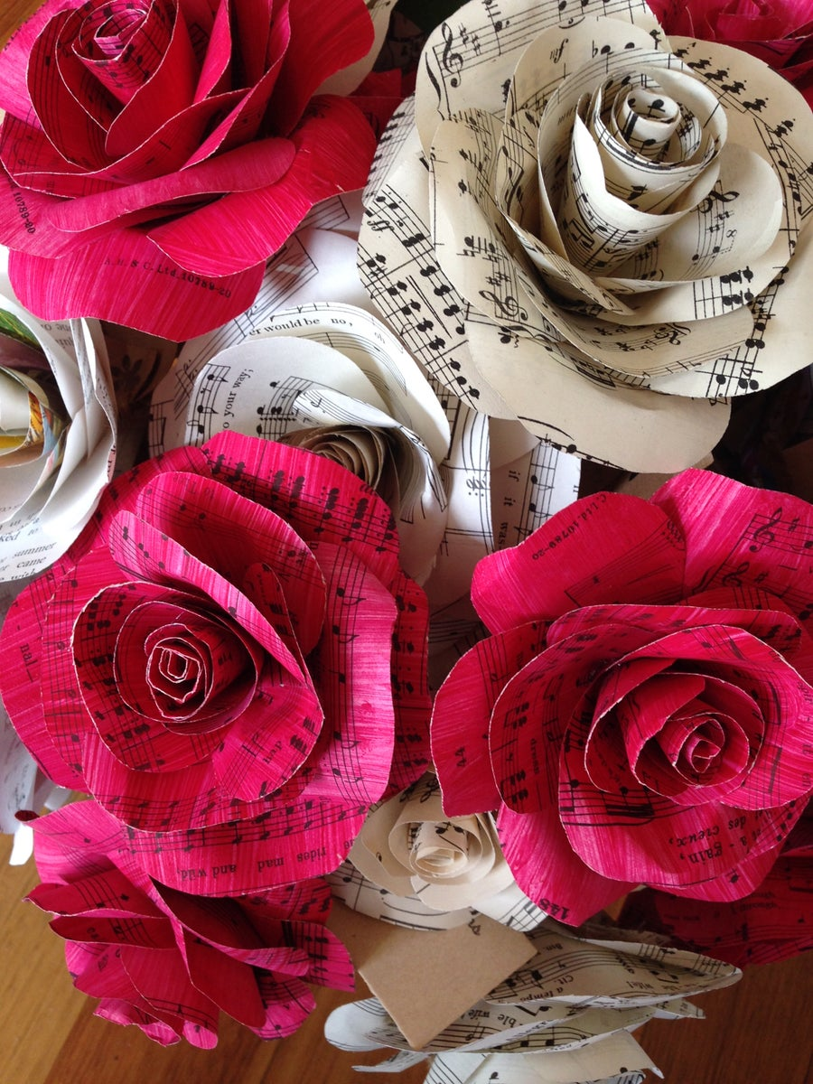 Image of Music note paper flowers