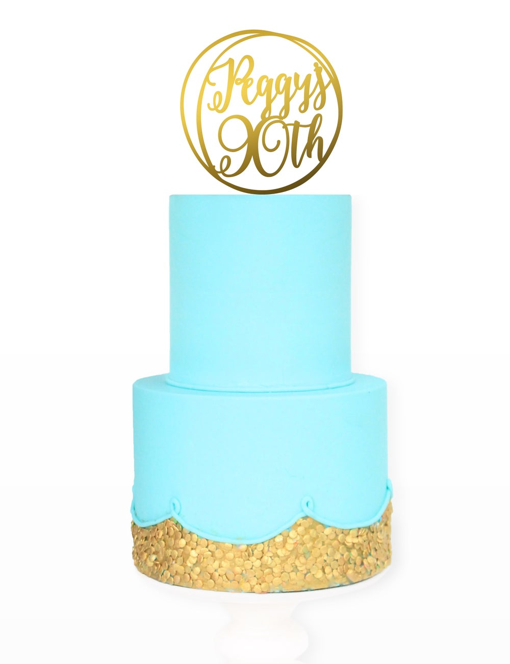 Image of Custom Circle Name & Age Cake Topper