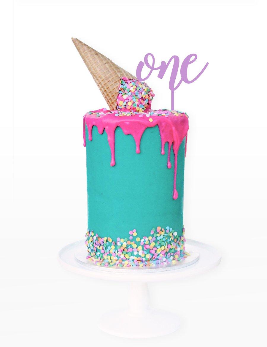Image of Script Number Cake Topper