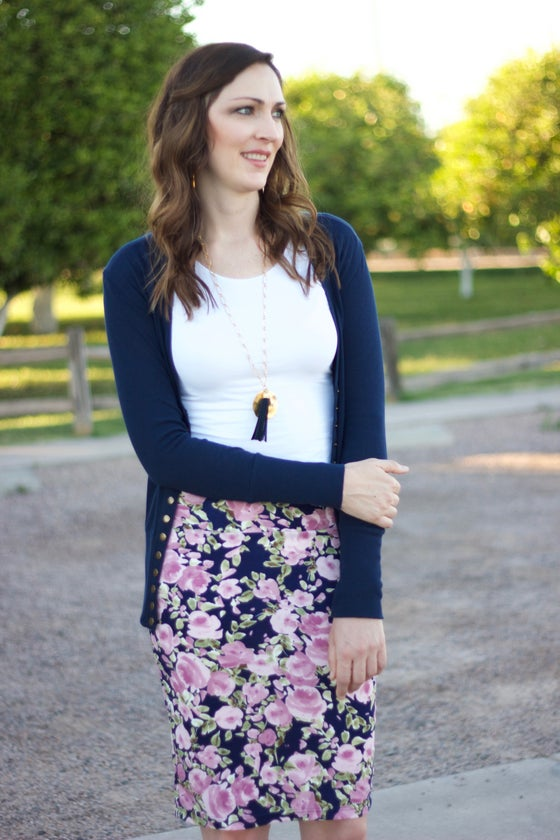 Image of Navy & Lilac Floral Skirt